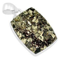 18.15cts pyrite on basalt matrix 925 sterling silver handmade pendant r85652