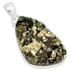 23.46cts pyrite on basalt matrix 925 sterling silver handmade pendant r85653