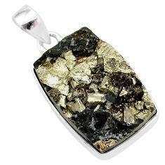 25.57cts pyrite on basalt matrix 925 sterling silver handmade pendant r85655