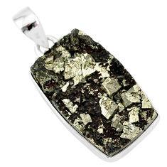 22.02cts pyrite on basalt matrix 925 sterling silver handmade pendant r85661