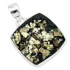 15.05cts pyrite on basalt matrix 925 sterling silver handmade pendant r85662