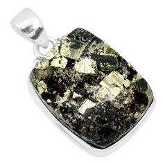 24.38cts pyrite on basalt matrix 925 sterling silver handmade pendant r85667