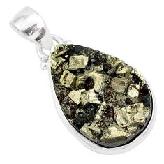 13.62cts pyrite on basalt matrix 925 sterling silver handmade pendant r85669