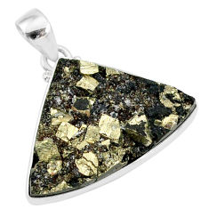 19.07cts pyrite on basalt matrix 925 sterling silver handmade pendant r85671