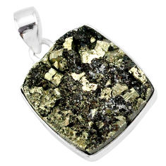 20.51cts pyrite on basalt matrix 925 sterling silver handmade pendant r85674