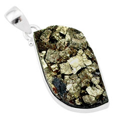 20.65cts pyrite on basalt matrix 925 sterling silver handmade pendant r85678