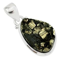 9.37cts pyrite on basalt matrix 925 sterling silver handmade pendant r85681
