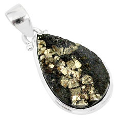 12.18cts pyrite on basalt matrix 925 sterling silver handmade pendant r85685