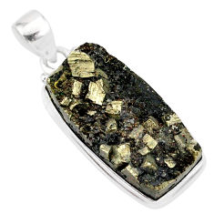19.23cts pyrite on basalt matrix 925 sterling silver handmade pendant r85687