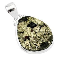 14.23cts pyrite on basalt matrix 925 sterling silver handmade pendant r85689
