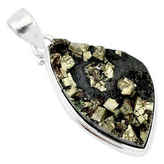 19.07cts pyrite on basalt matrix 925 sterling silver handmade pendant r85692