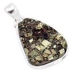 19.23cts pyrite on basalt matrix 925 sterling silver handmade pendant r85698