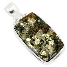 13.70cts pyrite on basalt matrix 925 sterling silver handmade pendant r85757