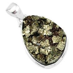 20.65cts pyrite on basalt matrix pear 925 silver handmade pendant r85673