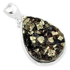19.23cts pyrite on basalt matrix pear 925 silver handmade pendant r85688