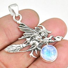 4.90cts rainbow moonstone 925 silver pentacle witches broom pendant r90460