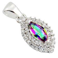 3.40cts rainbow topaz white topaz 925 sterling silver pendant c9726
