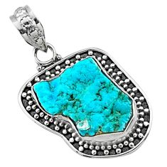8.43cts raw blue sleeping beauty turquoise 925 silver pendant r66631