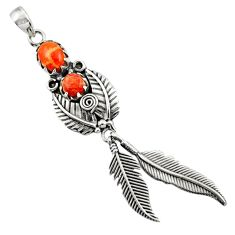 2.68cts red copper turquoise 925 sterling silver dreamcatcher pendant d44881