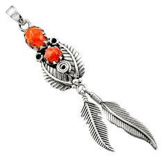 2.50cts red copper turquoise 925 sterling silver dreamcatcher pendant d44886