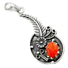 2.93cts red copper turquoise 925 sterling silver flower pendant jewelry d44874