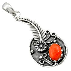 Clearance Sale- 2.76cts red copper turquoise 925 sterling silver flower pendant jewelry d44880