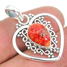 3.83cts red copper turquoise pear 925 sterling silver pendant jewelry t35722