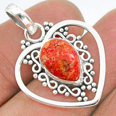 3.98cts red copper turquoise pear 925 sterling silver pendant jewelry t35724