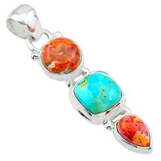 8.56cts red coral arizona mohave turquoise 925 silver pendant t18728