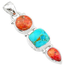 8.07cts red coral arizona mohave turquoise 925 sterling silver pendant t18732