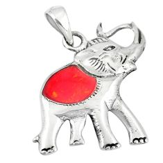 3.02gms red coral enamel 925 sterling silver elephant pendant a88389 c13775