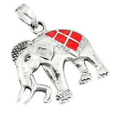 2.87gms red coral enamel 925 sterling silver elephant pendant a90791 c13776