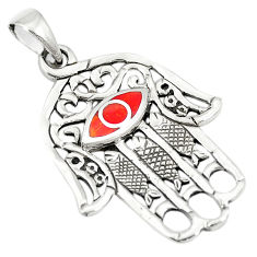 Red coral enamel 925 sterling silver hand of god hamsa pendant a79694 c13827