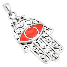Red coral enamel 925 sterling silver hand of god hamsa pendant a79729 c13723