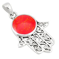 Red coral enamel 925 sterling silver hand of god hamsa pendant a79753 c13822