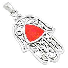 Red coral enamel 925 sterling silver hand of god hamsa pendant a79782 c13839