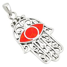 Red coral enamel 925 sterling silver hand of god hamsa pendant a79789 c13732