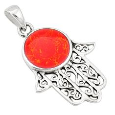 Red coral enamel 925 sterling silver hand of god hamsa pendant c12464