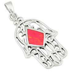 3.02gms red coral enamel 925 sterling silver hand of god hamsa pendant c12470