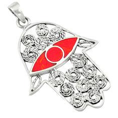 4.87gms red coral enamel 925 sterling silver hand of god hamsa pendant c12504