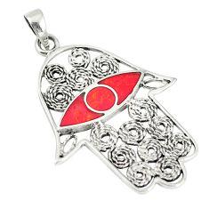 Red coral enamel 925 sterling silver hand of god hamsa pendant c12524