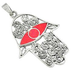 4.69gms red coral enamel 925 sterling silver hand of god hamsa pendant c12525