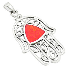 Red coral enamel 925 sterling silver hand of god hamsa pendant c12530