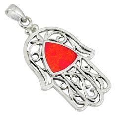 Red coral enamel 925 sterling silver hand of god hamsa pendant c12536