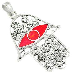 4.87gms red coral enamel 925 sterling silver hand of god hamsa pendant c12539