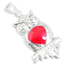 2.69gms red coral enamel 925 sterling silver owl pendant jewelry a93256 c14503