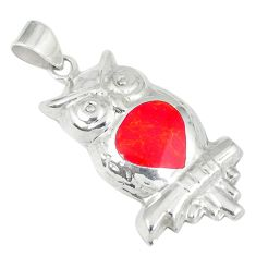 3.02gms red coral enamel 925 sterling silver owl pendant jewelry c12563