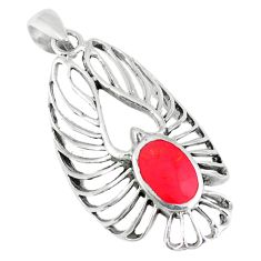 3.84gms red coral enamel 925 sterling silver pendant jewelry c12541