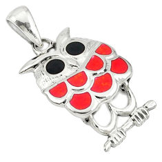Red coral onyx enamel 925 sterling silver owl pendant jewelry c12580