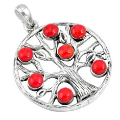 5.63cts red coral round 925 sterling silver tree of life pendant a90794 c13701